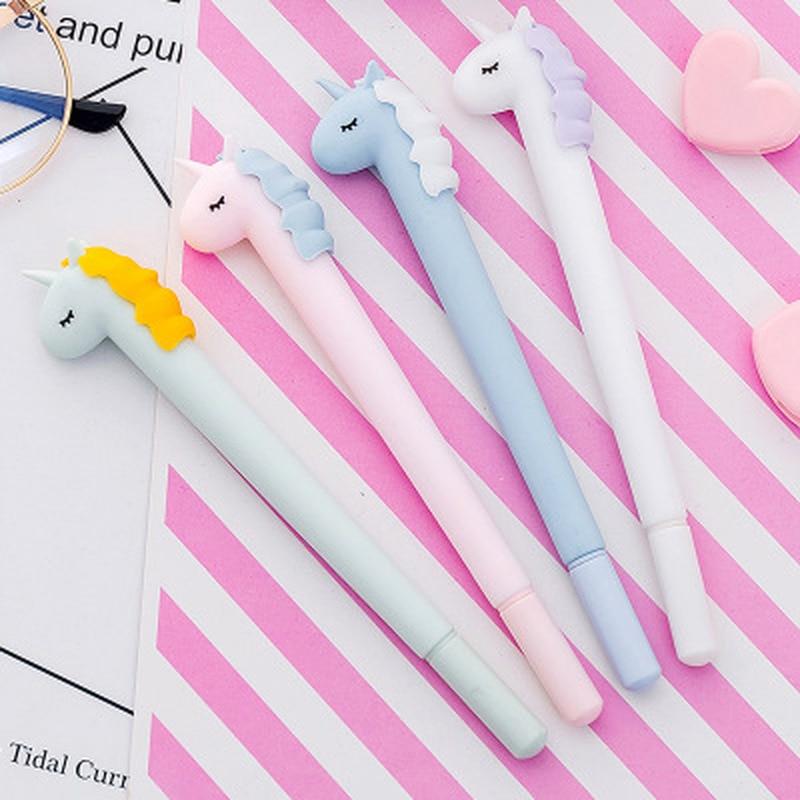 1pcs Unicorn Gel Pen 0.38mm Cute Pens Novelty Stationery Kawaii Pen Student Candy Colors Gel Pens  Kawaii School Supplies