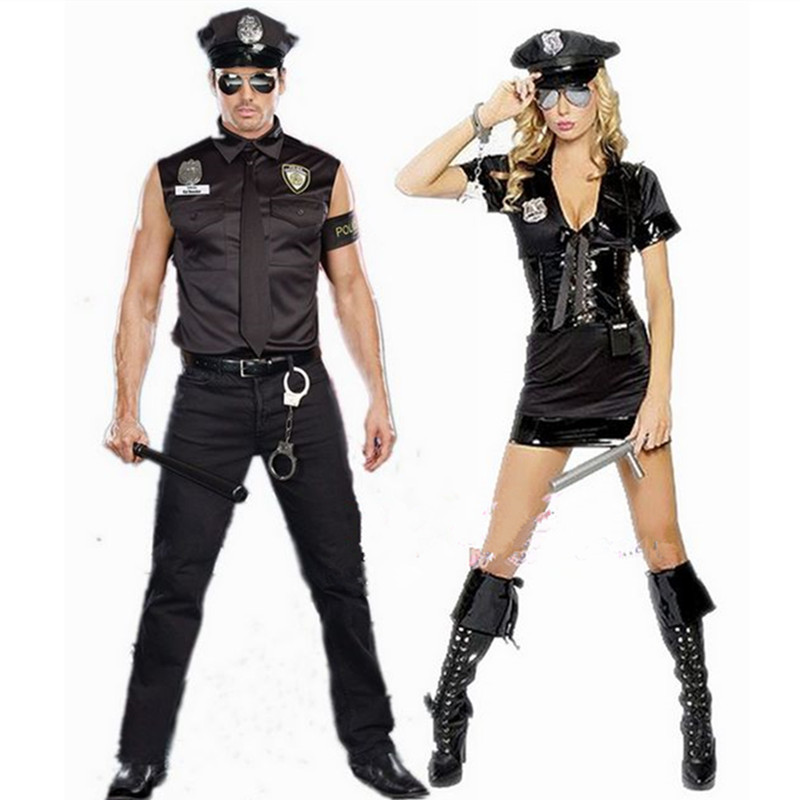 Masquerade Cosplay stage clothes police uniform clothing for men and women Police Costume Halloween Costume Short Sleeve