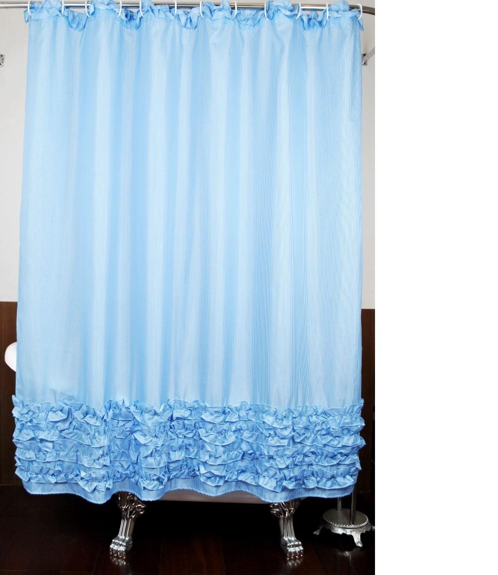 Blue Board Striped Ruffle Shabby Chic Shower Curtain Round