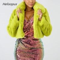 Helisopus Мода зеленый лайм короткие Для женщин зимняя куртка; теплое пальто из искусственного меха флуоресцентный Кардиган укороченный жакет ...