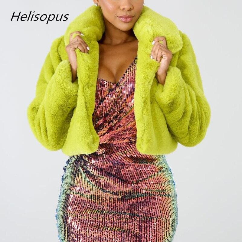 d0307c48bf Helisopus Moda Verde Limão Curto Mulheres Jaqueta de Inverno Quente da Pele  Do Falso Casaco Fluorescente Cardigan Cropped Jacket Casacos De Pelúcia Fofo