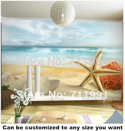 Free shipping custom 3D stereoscopic large mural wallpaper TV backdrop bedroom children's room murals wallpaper beach starfish custom any size mural wallpaper 3d stereoscopic universe star living room tv bar ktv backdrop bedroom 3d photo wallpaper roll