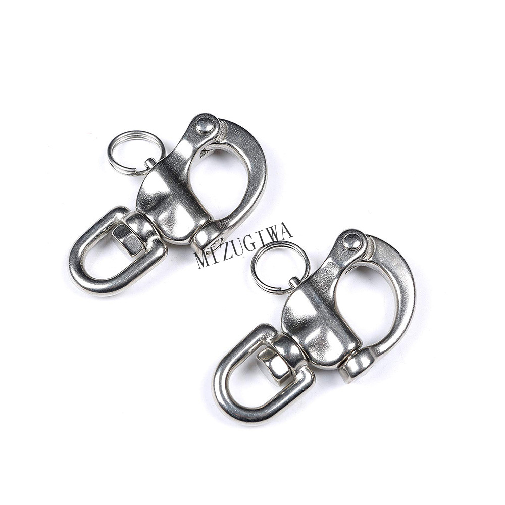 2 Durable 304 Stainless Snap Shackles Quick Release Swivel Bail Rigging 32mm