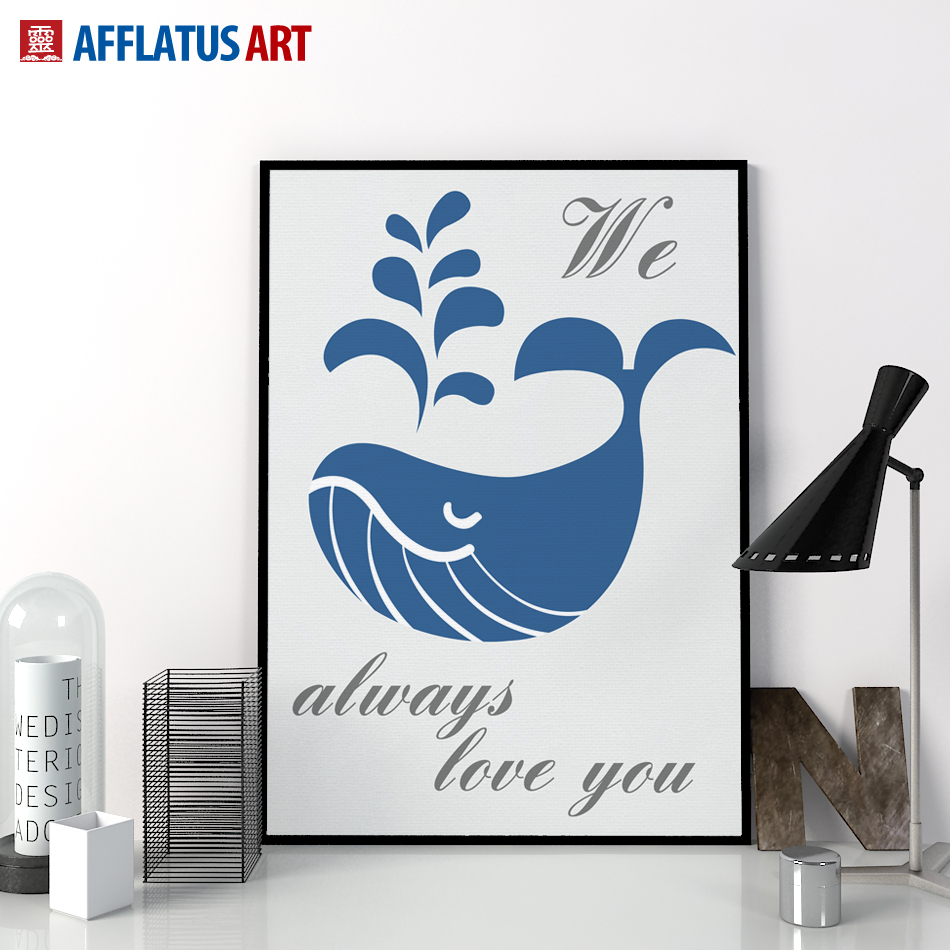 AFFLATUS Canvas Painting Nordic Animal Whale Spray Painting Wall Art Canvas Poster Wall Pictures For Living