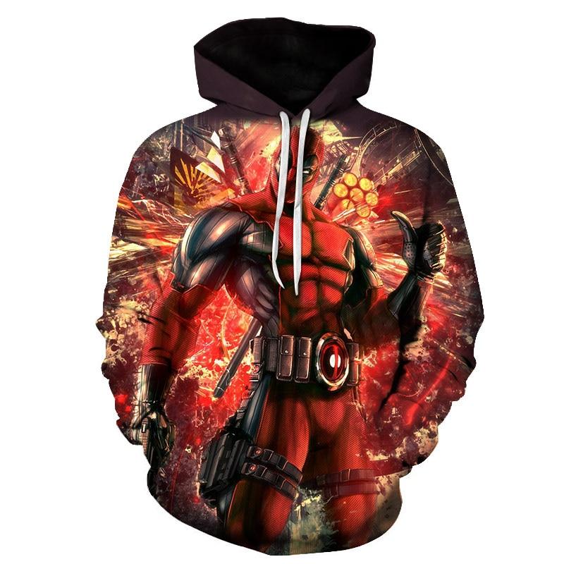 2018 Hot Sales New Unisex Hoodies Sweatshirt Fashion Deadpool Pattern Men Sweatshirts Deadpool 3D Printing Hoodies Sweatshirts