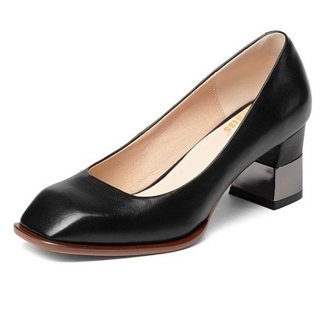 KemeKiss Big Size 33-43 Real Geniune Leather Pumps High Heel Shoes Square Toe Office Work Shallow Shoes Women