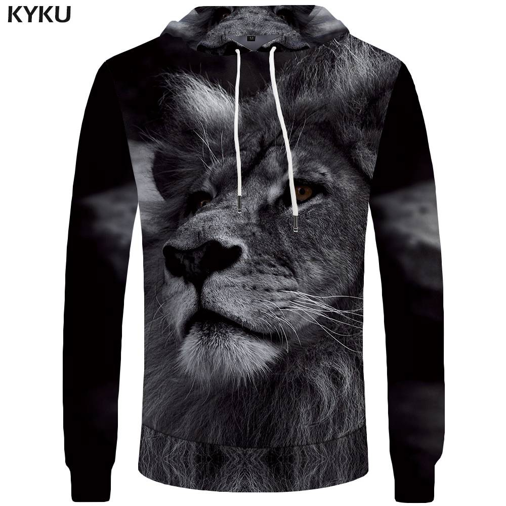 KYKU Lion Hoodies Men Animal Big Size Black Pocket Sweatshirt Hoddie Sweatshirts 3d Hoodies Hoodie New Fashion High Quality