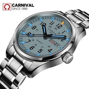 Image 2 - Double calendar Date T25 Tritium Luminous Quartz military watch waterproof 200M Sapphire Brand Watches Mens full steel relojes