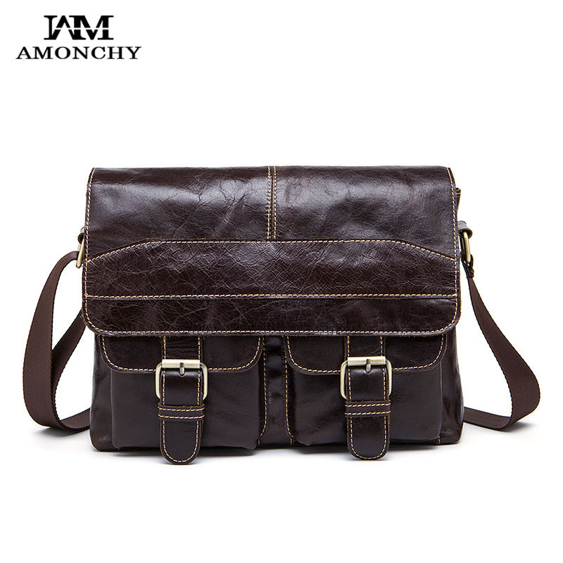 AMONCHY Brand Business Men Bags Vintage Cow Leather Shoulder Bag Man Genuine Leather Messenger Bag Casual Crossbody Satchel HM06 men and women bag genuine leather man crossbody shoulder handbag men business bags male messenger leather satchel for boys