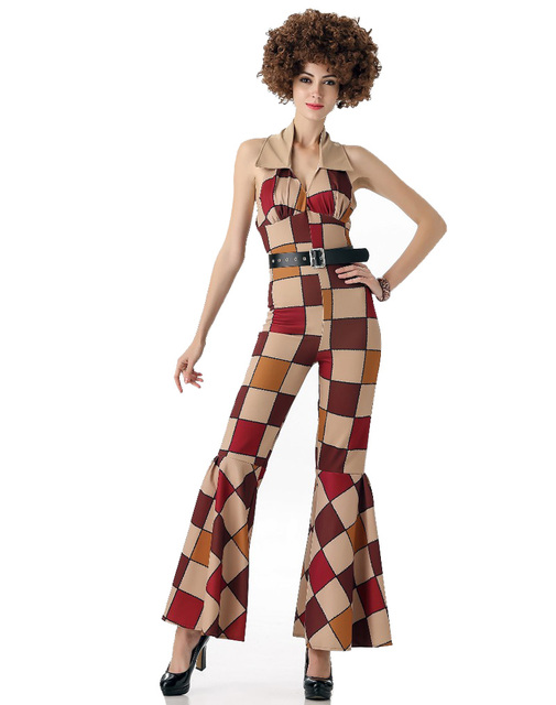 bf9896eee9 Ladies 80s Retro Hippie Boogie Babe Disco Costume Fancy Hen Xmas Party  costume halter backless jumpsuit H39325