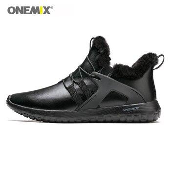 ONEMIX Uomini Runningg Scarpe Nero Caldo di Inverno Sneakers botas de hombre Uomini Della Caviglia Stivali Da Neve Da Jogging All