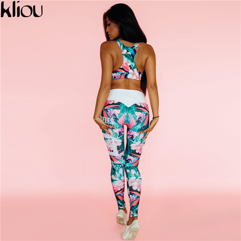 Kliou 2017 Retro Digital Printed letters workout Suit Fitness Tracksuit Women Set Female Sporting Bra Leggings 3