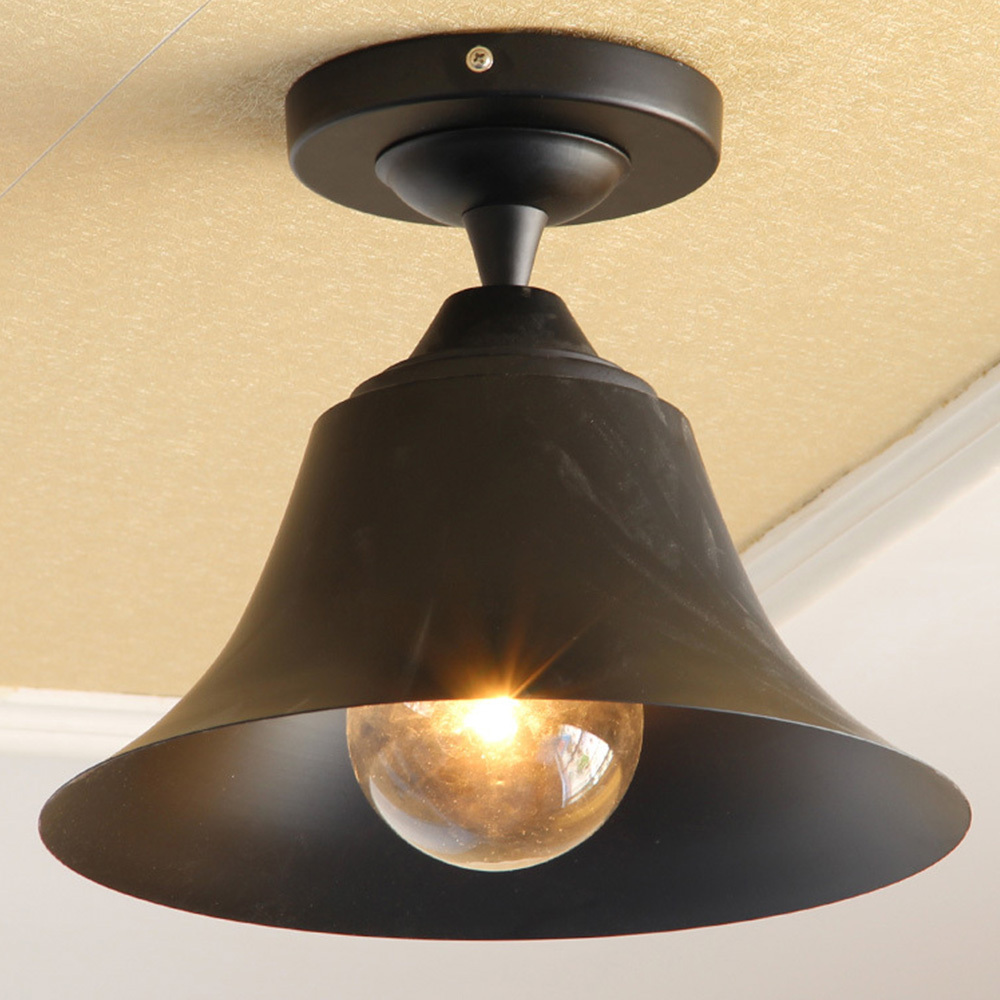 Us 78 0 bell shape outdoor ceiling lights vintage classic black indoor ceiling lamp iron america country industrial style lighting decor in ceiling