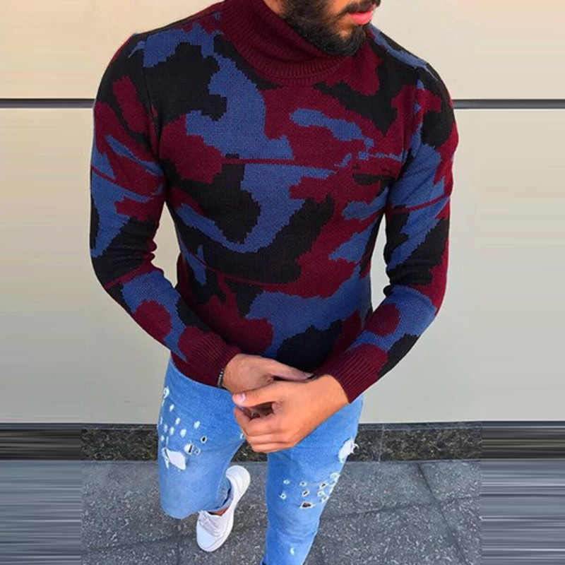 2019 Mens Sweater Turtleneck Long Sleeve Slim Fit Fashion Pullovers Casual Camouflage Print Sweaters Men Knitted Tops Winter 3xl