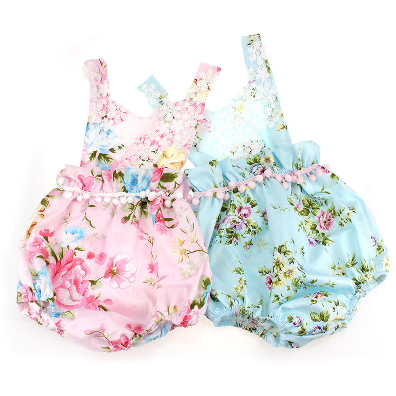 new design baby clothes Vintage Baby Floral Romper Sunsuit Seaside Playsuit Romper with knot Headband