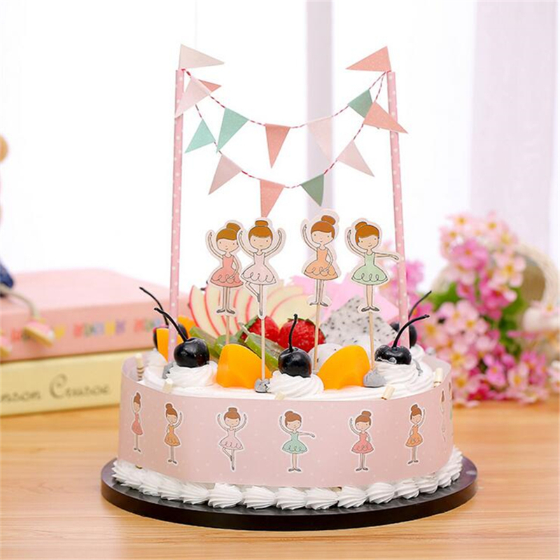Creative Ballet Party Decoration Cake Topper For Baby Shower Happy Birthday Party Decorations Supplies Kids
