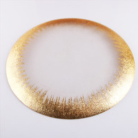 13 inch Gold Colored Edge Rim Clear Glass Charger Plate Wedding Party Dinner 1 piece