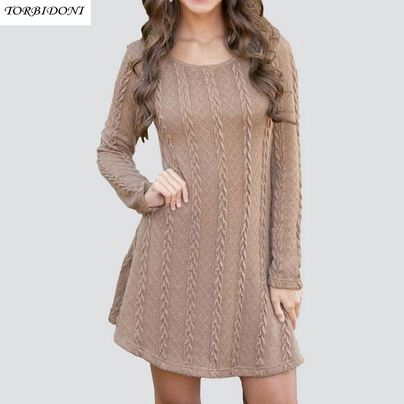 Fashion Knitted Women Dress Long Sleeve Round Neck Sexy Club Spring Autumn Casual Solid Top Knitted Sweater Party Night Dresses stylish round neck long sleeve stereo flower embellished knitted dress for women