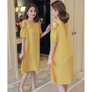 Image 5 - Off Shoulder Flower Dresses Maternity Clothes For Pregnant Women Vestidos Pregnancy Dress Maternity Mother Summer Clothing