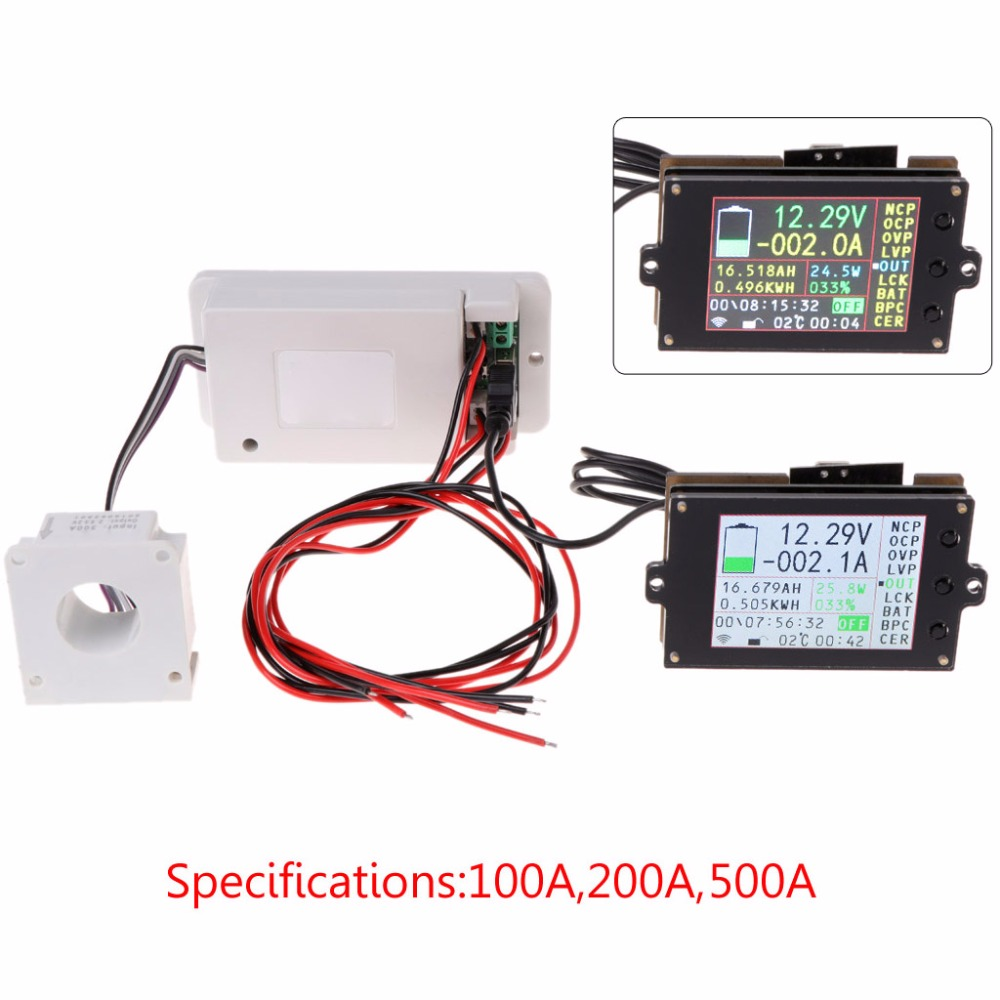 DC 500V 100A 200A 500A Wireless Voltmeter Ammeter Coulometer Battery Power Meter Au11 Dropship