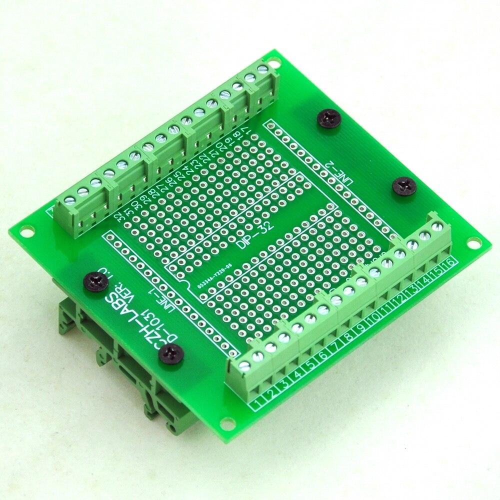 цена DIP-32 Component to Screw Terminal Adapter PCB, w/Simple DIN Rail Mount Bracket. в интернет-магазинах