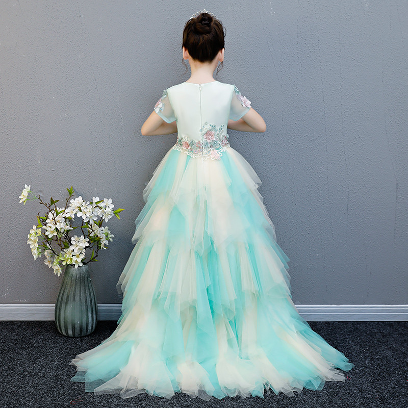 Train Tail Girls Tutu Dress Baby Bridesmaid Flowers Wedding Birthday Dress Tulle Ball Gown Kids Halloween Evening Party Dresses цены
