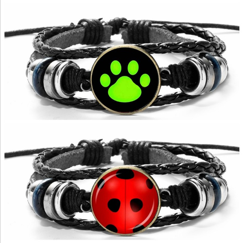 Shock-Resistant And Antimagnetic Costume Props Miraculous Ladybug Adrien Marinette Cat Noiradjustable Wristbands Bracelet Hand Chain Cosplay Costume Accessory Pendants Gift Waterproof