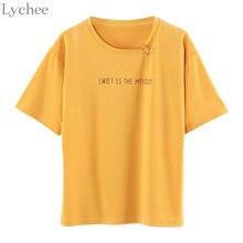 Летняя женская футболка Lychee в стиле Харадзюку, Повседневная Свободная футболка с коротким рукавом и принтом колец, женская футболка