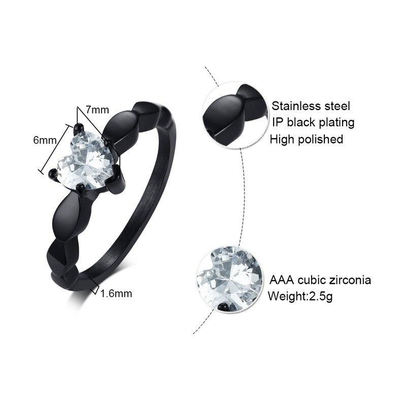 Vnox Heart Love Engagement Rings for Women Bling CZ Black Stainless Steel Female Alliance Jewelry 3