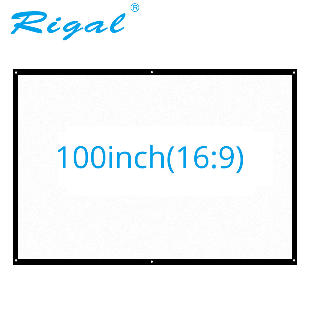 Rigal 100 inch 16:9 Portable Projector Screen Plastic Projection Screen Matte White for Wall Mounted Home Theater Bar Travel luxury motorized electric tab tension 139inch 16 10 matte white home theater high quality cinema projector screen