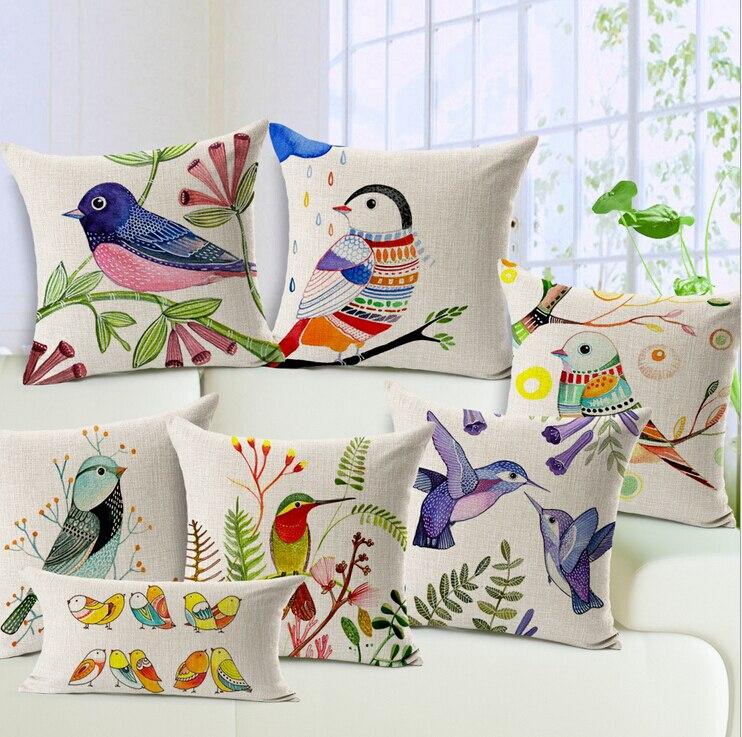 Oiseaux décoratif oreiller Nordique peinture linge coussin 45x45 coloré oiseaux almofadas para canapé