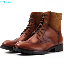 Brand Casual Lace-up Winter Boots Vintage Style Brown For Men Ankle High-Top Tactical Mens Chelsea