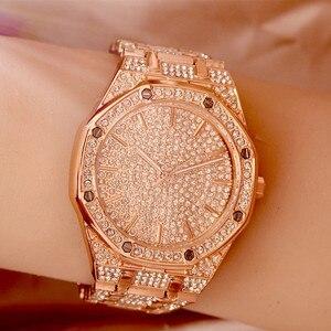 Image 5 - 2019 relógio masculino feminino pulseira de cristal ouro/prata chapeado grande dial senhores senhoras brilhando vestido quartzo relógio de pulso horas