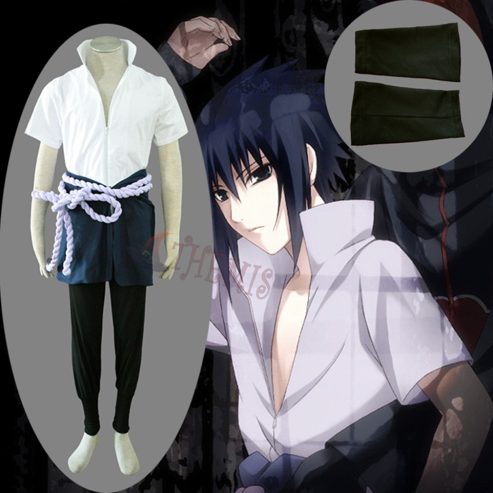 Athemis Naruto Uchiha Sasuke Cosplay Costume Custom Made Unisex Outfits with Skirt Halloween Clothing