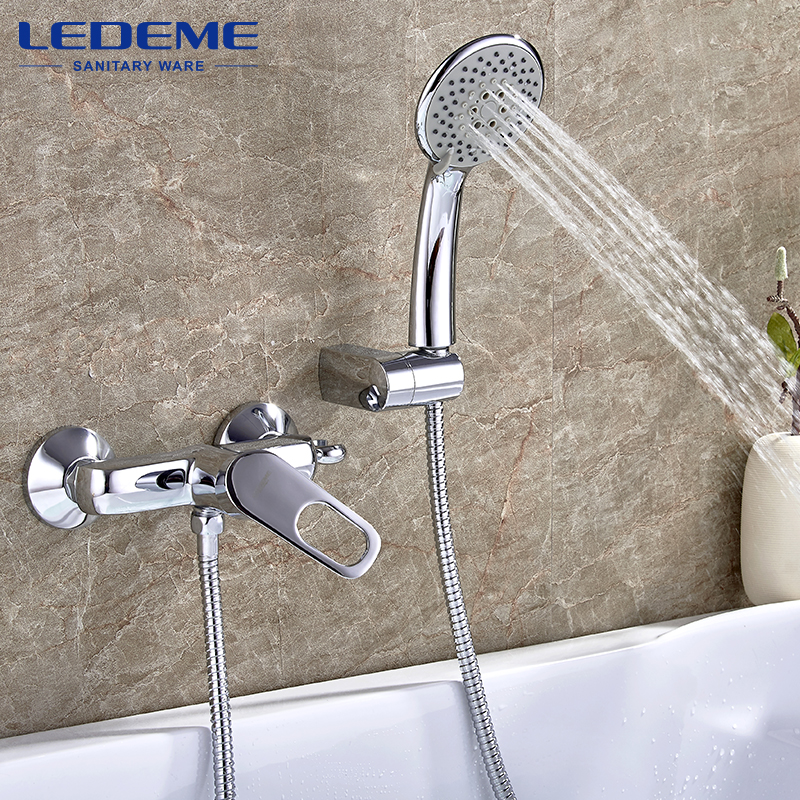 LEDEME Chrome Plated Bathroom Shower Faucet Bathroom Shower Faucet Mixer Shower Set Tap With Hand Brass Shower Head Set L2049 gappo classic chrome bathroom shower faucet bath faucet mixer tap with hand shower head set wall mounted g3260