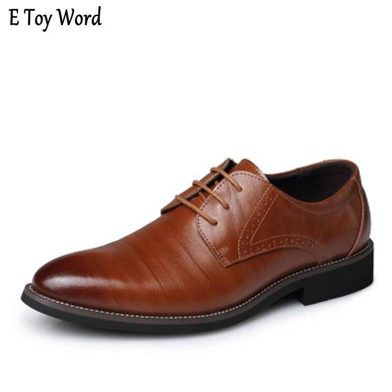 High Quality Oxford Shoes Men Brogues Shoes Lace-Up Bullock Business Dress  Shoes Male Formal 75520ab32c87
