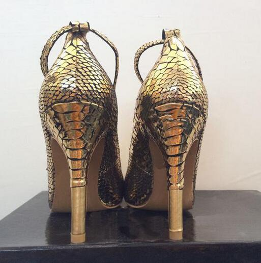 Luxury Bling Ankle Metallic Lock Decor Women Dress Pumps Gold Snake Leather Sexy Pointy High Heels Dress WOMEN 35 45 in Women 39 s Pumps from Shoes