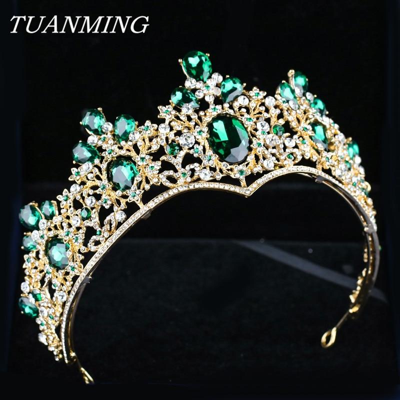 Baroque Golden Crown & Tiara Bride Headbands Green Crystal Crown Rhinestone Hair Jewelry Pageant Prom Women Head Accessories цена
