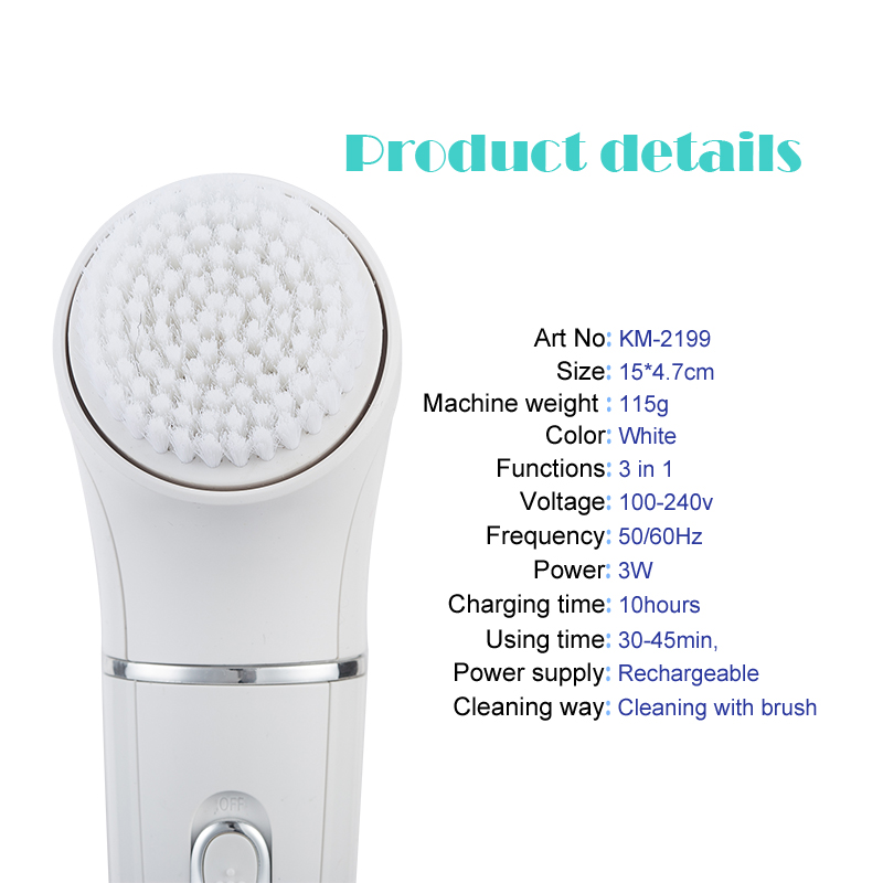 Image 2 - 5 in 1 kemei rechargeable face brush electric cleanser epilator facial cleansing device women electric lady shaver massager-in Powered Facial Cleansing Devices from Home Appliances
