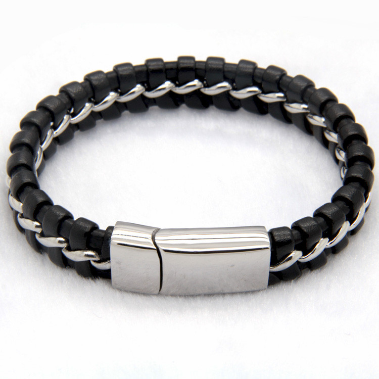black-leather-knitted-bracelet-with-silver-magnetic-clasp-3