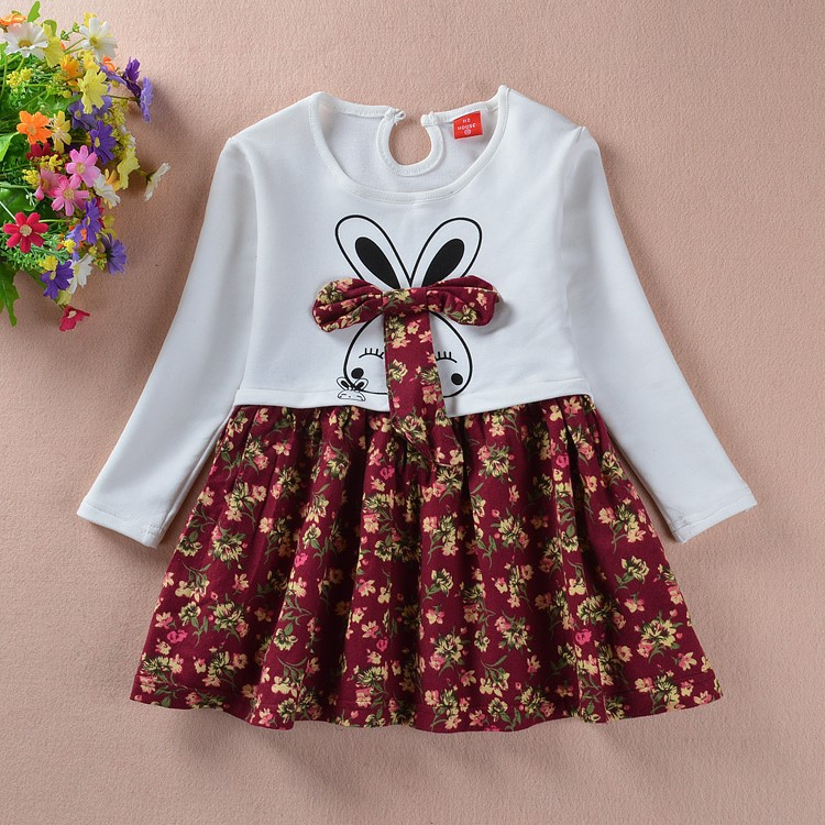 Girls dress long sleeve kids party dresses costume kids hello kitti disny princess costume korean Floral bunny princess dress