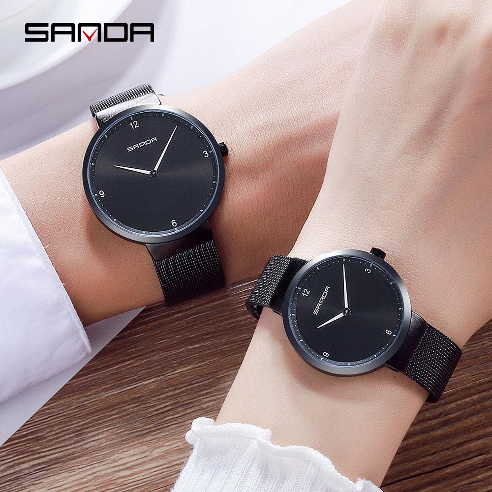 SANDA Mesh Steel Lover's Watch Fashion Men And Women Watches Top Brand Luxury Ultra Thin Dial Couple Watch Relogio Masculino