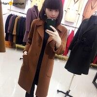 HanOrange атмосферу Двусторонняя шерсть ПР Офисные женские туфли Длинные рукава зима осень Для женщин длинное пальто