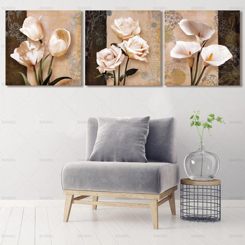 Lona 3 unidades flor imagen Modular en la pared Cuadros decorativos ...