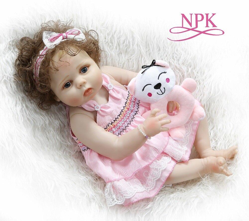 NPK 56CM Full Body Slicone Reborn Baby Doll Girl Bebe Doll Reborn Bath Toy Hand-rooted Curly Hair Anatomically Correct