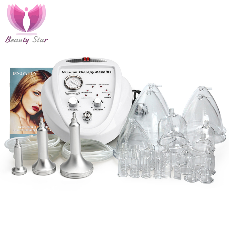 Beauty Star Vacuum Massage Therapy Machine Enlargement Pump Lifting Breast Enhancer Massager Cup Body Shaping Lymph Drainage