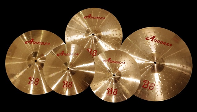 "Arborea B8 series 4 Cymbals set: 14"" hihat+16""crash+18""crash ride+20""ride+8""splash+cymbal bag 3"