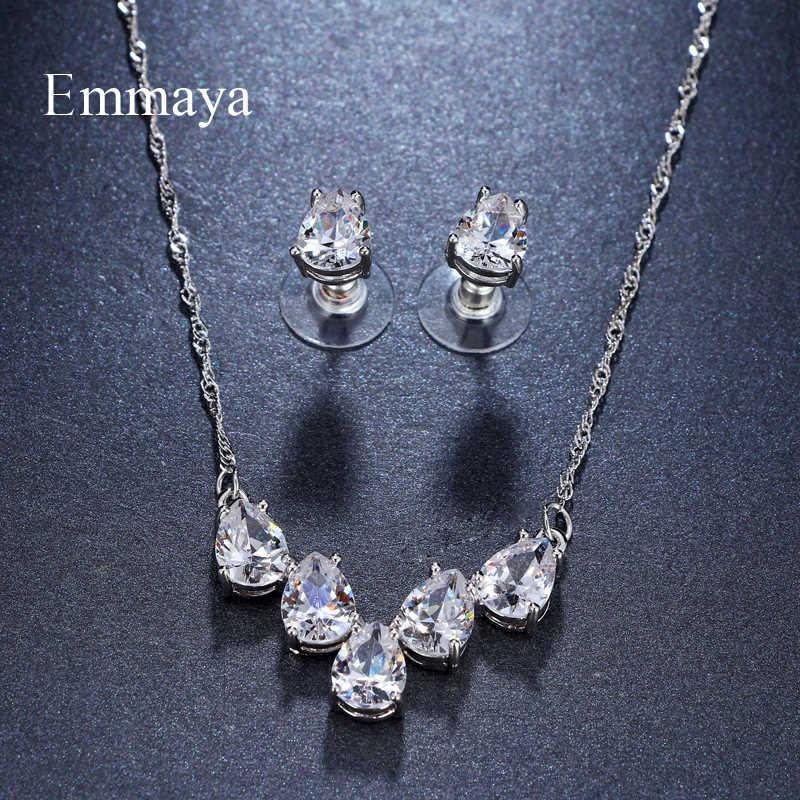Emmaya Brand Elegance Charm AAA Cubic Zircon Heart Shape Crystal Earrings Necklace Set For Women Popular Bride Jewelry Gift