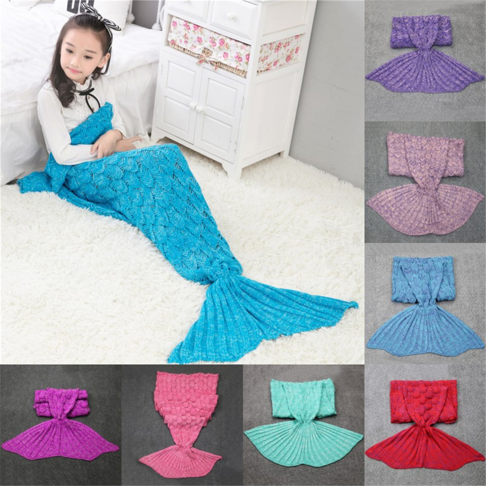 Quilt fleece Mermaid blanket For Bed tail throw plush plaid On sofa Bed fluffy bedspreads knitted children and adult blanket