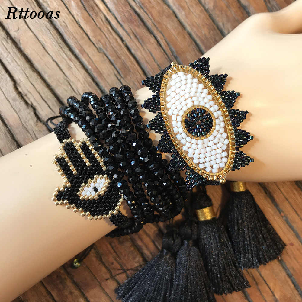 Rttooas Fashion Handmade MIYUKI Beads Bracelet Set Women Girls Evil Eye Lucky Bracelet Crystal Hamsa Fatima Friendship Bracelet